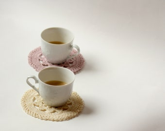 Crocheted doily coasters, set of 2, crochet table setting