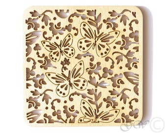 Laser Cut Wood Coasters. Birch Coaster. Butterfly Style