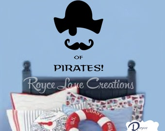 Pirate Decal Beware of Pirates Wall Decal-Boys Room Decor Wall Decals- Kids Pirate Decor- Boys Room Decal- Boys Bedroom Wall Decal