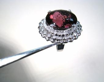 Custom Tal Azulay 20.72 ct VS1 RUBELLITE & .85 ctw DIAMOND RING size 7.5 - 18k White Gold