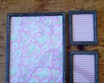 Vintage Trio Of Wooden Frames Painted Silver