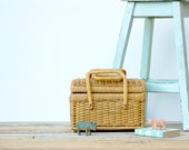 French vintage rattan wicker basket