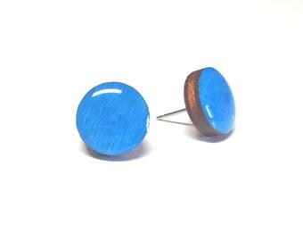 Blue earrings, Wood stud earrings. Round wood earrings, Wood studs, Wood earrings, Blue round earrings