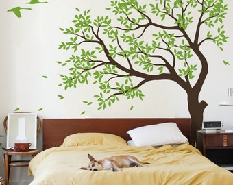 Large  Tree  vinyl decal, nursery vinyl  wall decal, tree wall decal, Vinyl Wall  swallows mural, sticker - MM027