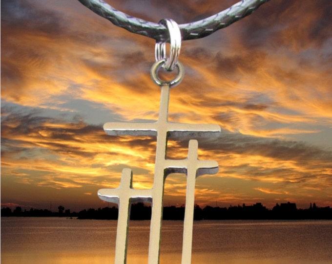 Petite Calvary 3 Cross Necklace Pendant Silver Gold Womans Girls Christian Jewelry - Saint Michaels Jewelry - Calvary Three Cross