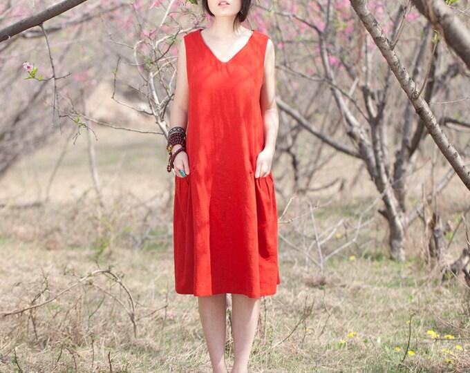 Women long dress - Sleeveless Dress - V Neck - 2 pockets - Pleated Dress/Decorative pleat - Summer dress - Linen dress - Made to order