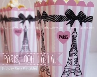 Popcorn boxes Paris Ooh la la! Eiffel Tower Pink and Black birthday party printables box favor baby shower water bottle labels supplies