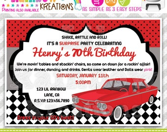 682: DIY -  1960's Chevy Corvair Party Invitation Or Thank You Card