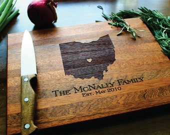 Personalized Cutting Board, Christmas Gift, Gift For Her, State Love, Anniversary Gift, Custom Engraved Ohio State (ANY STATE), Brother Gift