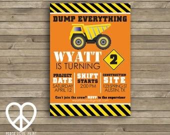 Construction Birthday 5x7 Invitation