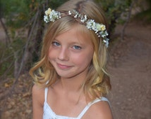 Sunshine in Your Smile Flower Girl Wreath - creamy white, pale yellow & green hues on a looped bark crown - spirea, roses and pip berries