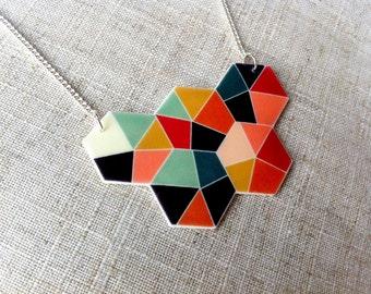 Multi coloured geometric hexagon necklace