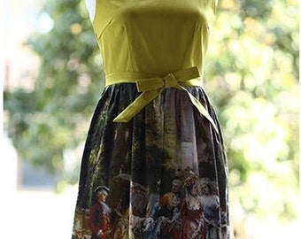 FineArt Collection Vintage yellow floral mid age court oil painting dress