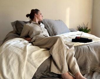 Luxurious natural linen pyjamas/  PJ's/ Women's pajama/ Natural stonewashed linen sleepwear