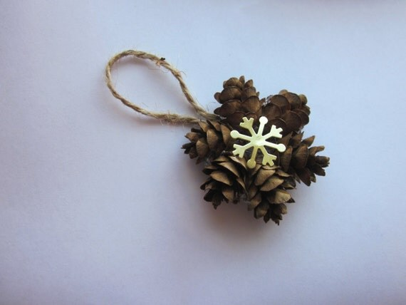Mini pine cone wreath ornaments gift topper by for Pine cone christmas tree ornaments