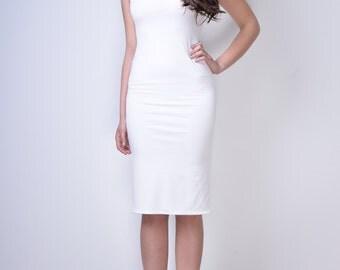 White stretch dress/ White bodycon dress/ Wedding dress/ Simple wedding dress