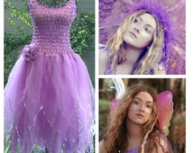 New Adult Plus Size  Halloween Fairy  Dress ~  Costume ~Tulle Headpiece ~ Wings ~Theatre~Vintage