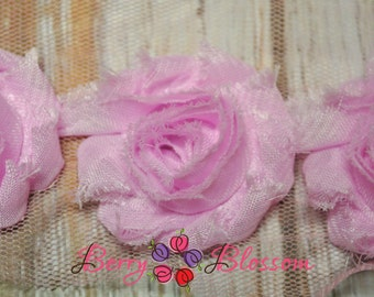 "1.5"" Baby Pink Petite Shabby Flower - baby frayed shabby rose trim - little solid flowers - small shabby"