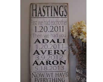 Important Date art First we had eachother, Then we had you Now we have everything wood art Personalized Wedding Date*