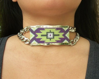 Hand Beaded Chain Link Choker Necklace , Purple , Green , Silver , Native American Beadwork , American Indian Jewelry , ID , Aztec Tribal