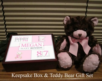 Birth Announcement Personalized Keepsake Box with Matching Teddy Bear, New Baby Girl Gift, Custom Baby Girl Gift Set