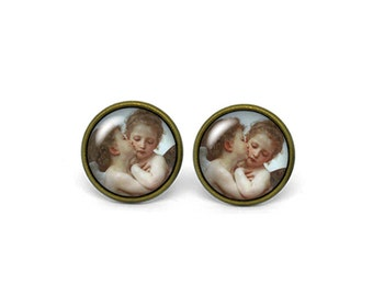 X180- Cupid and Psyche as Children, L'Amour et Psyché, enfants, Glass Dome Post Earrings, Stud Earrings, Post Earrings, Small Studs