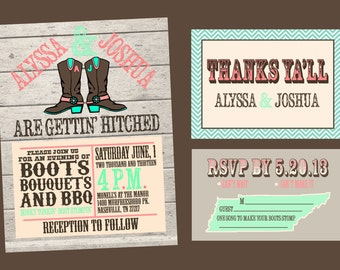 Custom High Resolution DIY Cowboy Boots Southern Rustic Wedding Printable Paper Goods Package --- Invitation, Thank You Card, RSVP Card