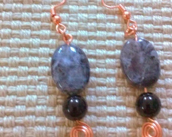 northern lights: handwrapped earrings in copper, labradorite, and black agate