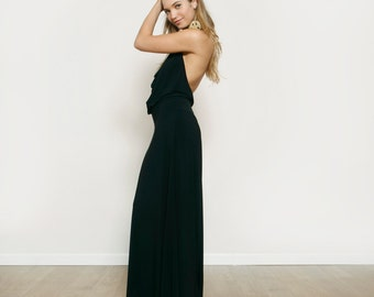 Black Bridesmaid Dress, Prom Dress, Maxi Party Dress