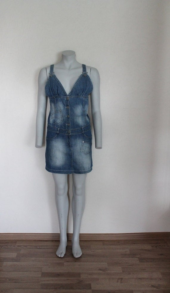 vintage blue denim overall dress jean skirt by vintageagency