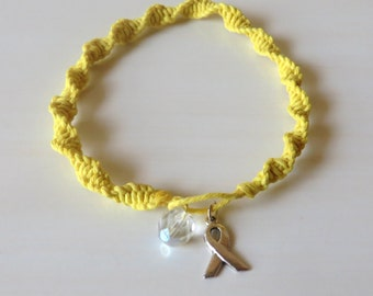 Anklet Yellow Awareness Ribbon Charm Spina Bifida Armed-forces return Bone Cancer Osteosarcoma Endometriosis Suicide Liver Diseases