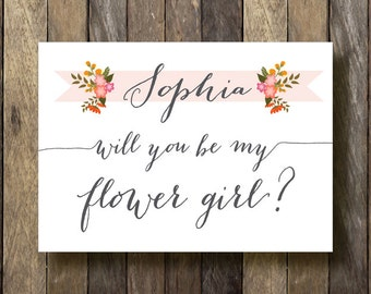Printable Flower Girl Card - Will you be my Flower Girl - Flower Girl Invitation - Be my Flower Girl
