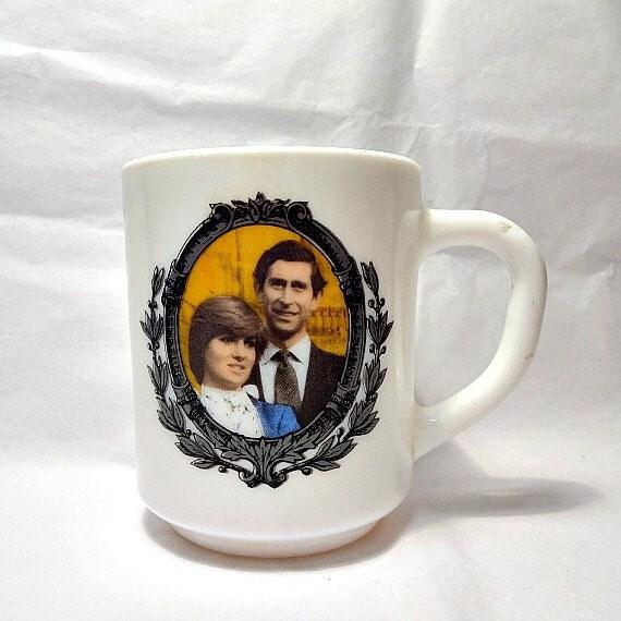 Lady Diana Wedding Glasses: Lady Diana Spencer Prince Charles Milk Glass Mug 1981 Royal
