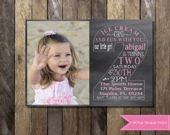 Chalkboard Second Birthday Invitation, Second Birthday Invitation with Picture, Printable Invitation, Chalkboard Invitation, Pink Invitation