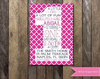 First Birthday Invitation, 1st Birthday Invitation, Pink, Printable Invitation, Pink and Navy, One, Girl Birthday Invitation, Pink, Navy