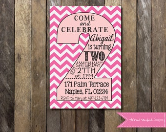 PRINTABLE Second Birthday Invitation - 2nd Birthday Invitation Chevron Fully Customizable -  Girls Boys Birthday Party 4x6 or 5x7