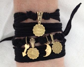 Aries SUN, with MOON & RISING Sign /// Black Zodiac Silk Wrap Charm Bracelet