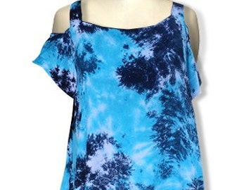 Women's Plus Size Clothing | Open Shoulder Tunic Top | Hand Tie Dye Rayon, Navy Blue Tunic, Festival Clothes, One Size (1x-3x)