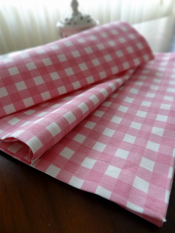Items Similar To Duck Linen Table Runner, Pink Gingham Tablecloth,  Housewares, Wedding, Home Decor, Event Supplies On Etsy