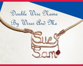 Two Name Personalized Wire Name Necklace - With or Without birthstones