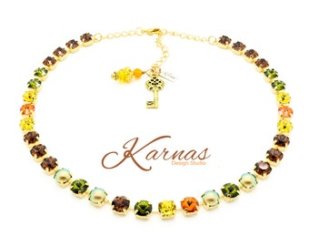 FALL FOLIAGE 8mm Crystal & Pearl Necklace Made With Swarovski Elements *Pick Your Metal *Karnas Design Studio *Free Shipping*