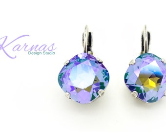 TANZANITE GLACIER 12mm Crystal Cushion Cut Earrings Made With Swarovski Elements *Pick Your Finish *Karnas Design Studio *Free Shipping*