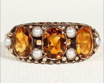 Antique Victorian Citrine and Pearl Ring in 15k Gold, Hallmarked 1873
