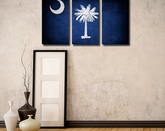 The Original South Carolina Flag Triptych (Canvas, Metal or Matte Print)