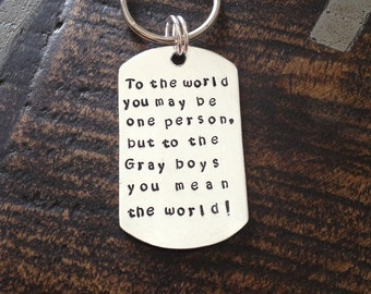 Quote Keychain Special Message Keychain Handstamped Keychain Personalized Keychain Custom Keychain Silver Keychain Gift Keychain