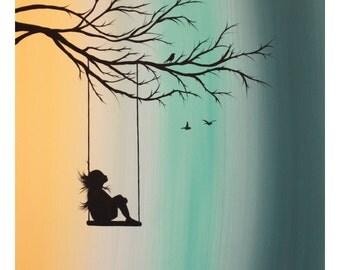 Girl On Tree Swing Sil...