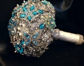 Blue Wedding Brooch Bouquet. Deposit on Peacock Crystal Bling Diamond Bridal Broach Bouquet. Turquoise Sapphire Teal Jeweled Bouquet
