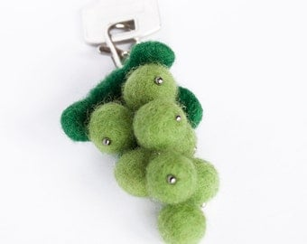 Wool Needle Felted Keychain Bag Charm with Bunch of Green White Grapes Key Ring Christmas Valentine's  Mother's Day Present Gift