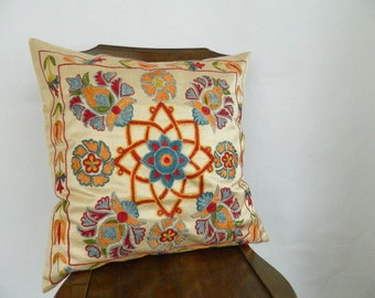 Suzani Silk Pillow Cover - Decorative Pillow For Couch - Throw Pillow - Hand Embroidered Pillow - Vintage Uzbek Pillow - Accent Pillow