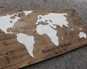 Wood Stain World Map on Wood Wedding Guest Book Alternative or Home Decor